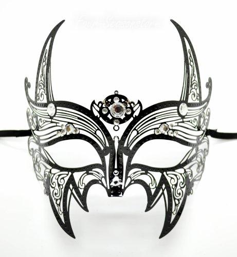New Wolverine Men's Mask Laser Cut Venetian Halloween Masquerade Mask Costume Extravagant Inspire Design - Black w/ Rhinestones