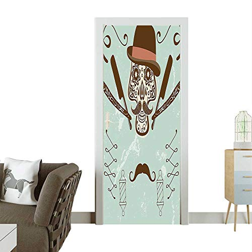 Homesonne Decorative Door Decal Hat and Mustache Retro Barber Tools Print Brown and ALM Green Stick The Picture on The doorW38.5 x H79 INCH