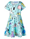 RAISEVERN Cute Animal World Printed Summer Clothes Basic Dresses Girls 6-7 Years