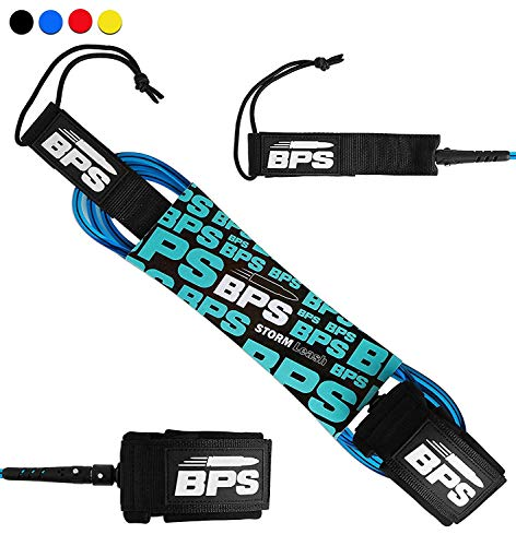 BPS 8' Premium 'Storm' Straight 8-Foot Surf/SUP 8mm Leg Rope - Ankle Leg Leash with Double Stainless Steel Swivels and Triple Rail Saver - Straight Leash for Surfing/Paddle Boarding (Dark Blue)
