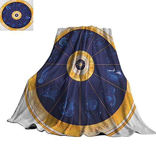 "RenteriaDecor Astrology,Personalized Blankets Natal Birth Chart Zodiac Horoscope Signs in Wheel Shape with Dots Stars Custom Blankets 70""x60"""