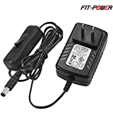 FIT-POWER 12 Volt 2A Power Supply Adapter AC to DC 2.1mm X 5.5mm Plug 12v 2 Amp Wall On/Off Swtich Power Cable for Led Strip Led string lights Wireless Router ADSL Cats HUB Switches, UL Listed