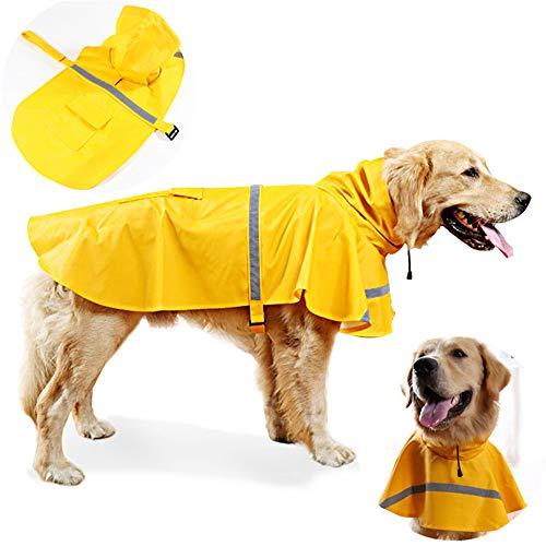 (JWPC Dog Raincoat Reflective Waterproof Lightweight Adjustable Dog Rain Jacket with Hood for Small Medium Large Dogs,Yellow M)