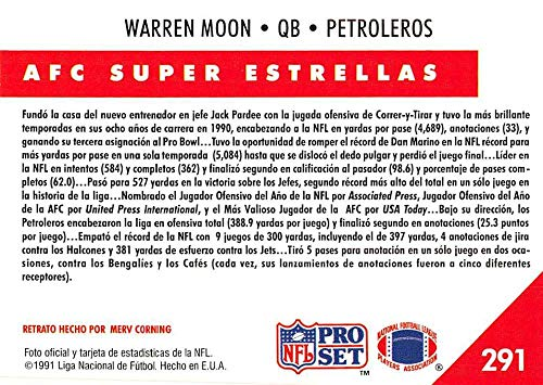 Amazon.com: 1991 Pro Set Spanish Football #291 Warren Moon ...