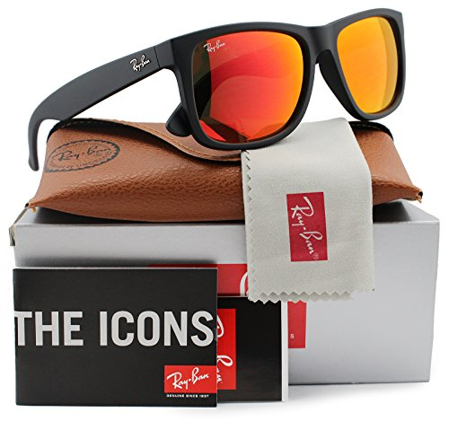 Ray-Ban RB4165 Justin Sunglasses Matte Black w/Orange Mirror (622/6Q) 4165 6226Q 55mm - Mirror Orange Sunglasses Ray Ban