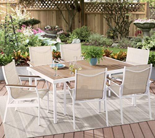 Modern 7-Piece Outdoor Patio Sling Mesh Dining Set