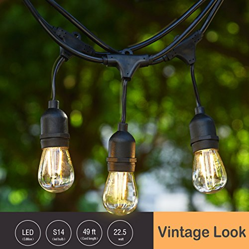 Outdoor String Lights Mains: Cymas Outdoor String Lights, 49Ft LED Weatherproof