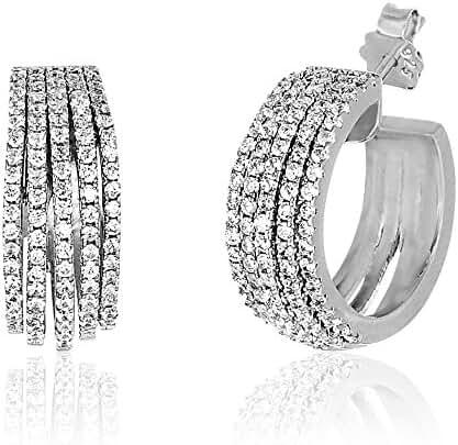 18K White Gold Over Sterling Silver Cubic Zirconia 5-Strand Huggie Hoop Earrings