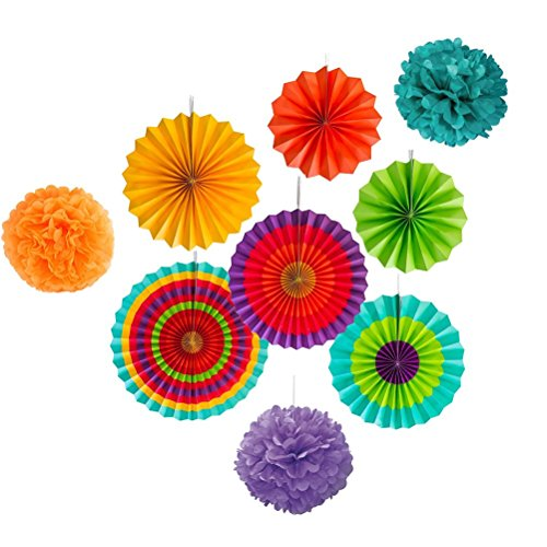 Langcal Paper Fan Decoration Set for Wedding Fiesta Birthday Carnival Kids Party Color Ceiling Hanging Round Tissue Fans Decor Paper Pom Poms,Set of 9