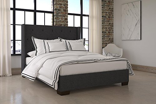 holstered Platform Bed with Vintage Modern Style and Wooden Slat Support, Queen Size - Grey Linen ()