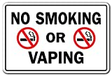 vapor cigarettes and accessories - No Smoking Or Vaping Business Sign | Indoor/Outdoor | Funny Home Décor for Garages, Living Rooms, Bedroom, Offices | SignMission Drugs Cigarettes Vapor Smoke Rules Signage Sign Decoration