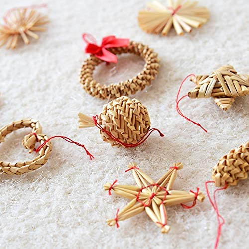 TREESTAR 1 pack//box Christmas Tree Hanging Ornament Set Decoration Xmas Hand Made Natural Straw Pendant Home Party Rural Decor Gifts-Box Included 27x27cm