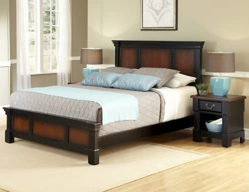 Home Styles Aspen Rustic Cherry Black Queen Bed and Night Stand