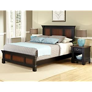 Home Styles Aspen Rustic Cherry & Black Queen Bed and Night Stand