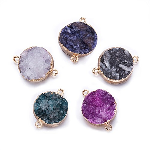 Druzy Pendant Bead - Fashewelry 5 pcs Mixed Gold Plated Natural Flat Round Druzy Agate Links Jewelry Connector for Jewelry Making Beads (Golden Tone)