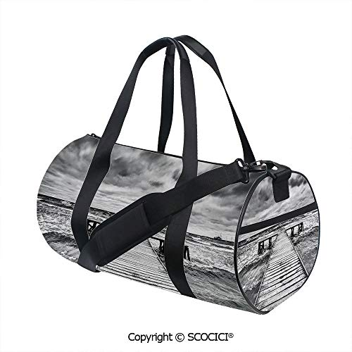 Unisex Cylinder Sports Bag,Old Wooden Deck in Storm with Waves in the Sea Dramatic Sky with Dark Heavy Clouds PrintInner Dark Grid,(17.6 x 9 x 9 in) Black White ()