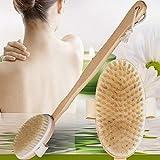 Body Bath Brush, Long Handle Natural Bristles Wooden Dry/Wet Brushes - Detachable Head - Men and Women - Skin Brushing Back Scrubber