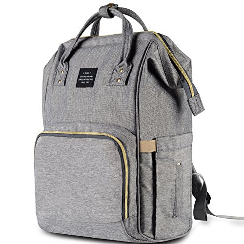 HaloVa Diaper Bag Multi-Function Waterproof Travel Backpack Nappy Bags for Baby Care, Large Capacity, Stylish and Durable, Linen (Best Car Seat Travel Bag 2019)