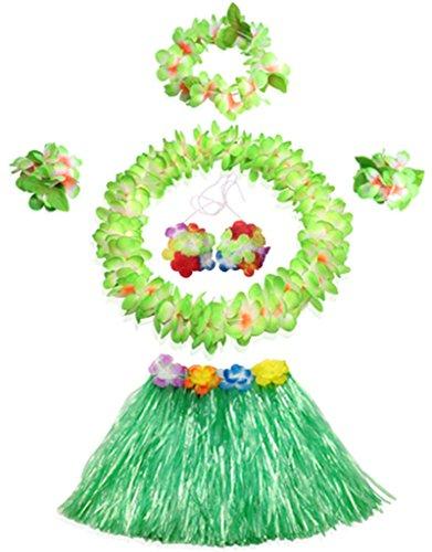 30cm Hawaiian green grass skirt performance costume set for girls (Hula Dancer Costume)