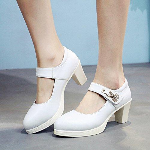 spessa in Nero tacchi con Taiwan numeri i unico 43 scarpe elevata 33 grande female scarpa di bianco grandi 5cm alti scarpe femmina impermeabile pelle con 40 con WIrnIqE