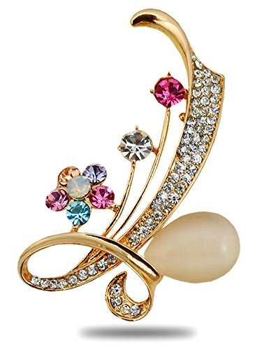 - Silver Shoppee Golden Bling 21K Yellow Gold Plated Cubic Zirconia and Opal Alloy Elegant Fancy Wedding Brooch Pin for Girls and Women
