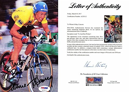 Lance Armstrong Autographed Signed 8x5 inch Magazine Photo TO JACK Personalization - Cycling Legend - PSA/DNA Full Letter of Authenticity (COA)
