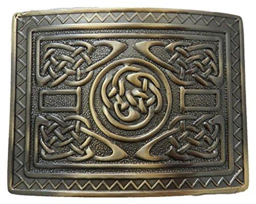 Scottish Kilt belt buckle #12 Antiqued Brass Finish - Belt Buckle Kilt