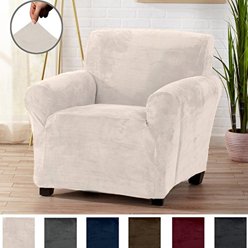 (Great Bay Home Modern Velvet Plush Strapless Slipcover. Form Fit Stretch, Stylish Furniture Cover/Protector. Gale Collection Brand. (Chair, Silver Cloud) )