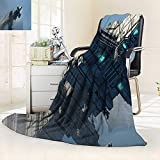 vanfan Super Soft Fleece Throw Blanket Decor Photo Huge Military Ship in The Air Solar Planetary Cosmos Vehicle,Silky Soft,Anti-Static,2 Ply Thick Blanket. (62''x60'')