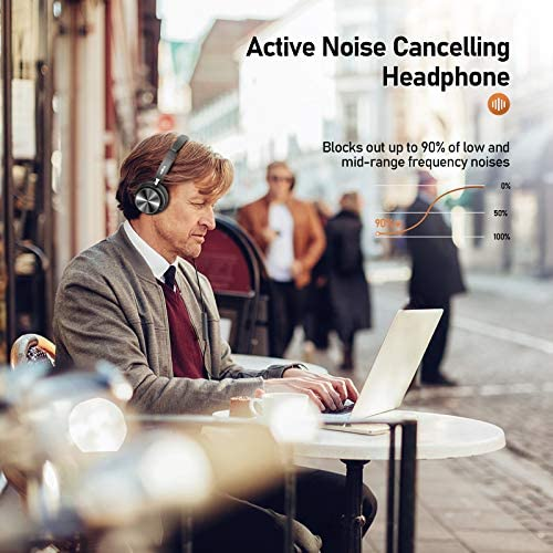 Active Noise Cancelling Headphones with Microphone, Vogek Wired Headsets with 20H Playtime and Stereo Bass for Teens Adults, Portable Foldable Design and Volume Control for Home Office Online Class