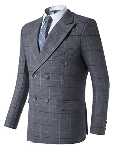 l Windowpane Double Breasted Jacket Blazer Separate Coat L ()