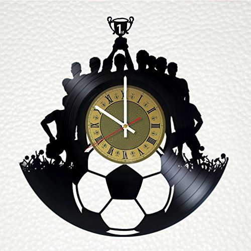 Football soccer Art Decor Vinyl Record Wall Clock - gift idea for girls boys sister and brother - home & office bedroom nursery room wall decor - customize your clock