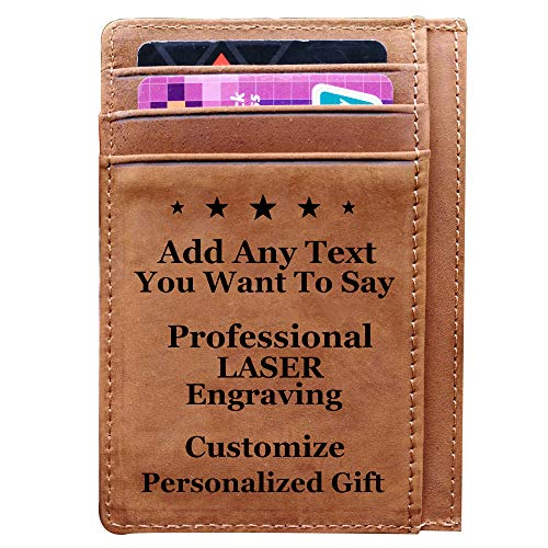 Engraved Pocket Wallet To My Son Dad Husband, Personalized Gift Slim Money Clips (Custom-Brown) ()