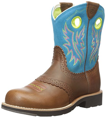 Kids' Fatbaby Cowgirl Western Cowboy Boot, Black Country Tan/Bright Blue, 4.5 M US Big Kid