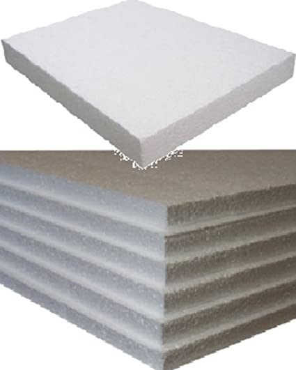 5 Small White Rigid Polystyrene Foam Sheets Boards Slabs - Size 600mm Long  x 400mm Wide x 25mm Thick - EPS70 SDN Floor Wall Insulation Sheeting