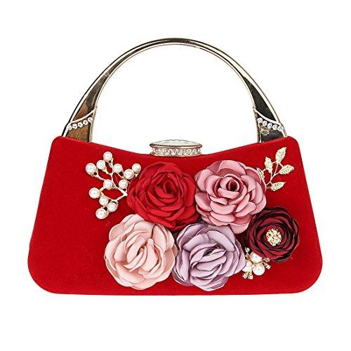 Flores Kaxidy Hombro De Fiesta Pequeños Bolso Mano Rojo Bolsos Mujeres qRUTvRx4