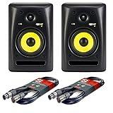 Pair of KRK Rokit 5 Studio Monitor Speakers with Two 18-Foot XLR Cables
