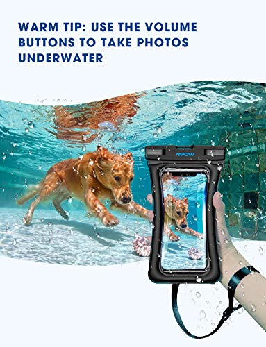 "Mpow 084 Waterproof Phone Pouch Floating, IPX8 Universal Waterproof Case Underwater Dry Bag Compatible iPhone Xs Max/Xr/X/8/8plus/7/7plus Galaxy s10/s9/s8 Note 9 Google Pixel up to 6.5"" (Black+Black)"