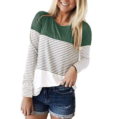 Womens Long Sleeve T Shirts Round Neck Stripe Cotton Shirts Casual Tops Tees Inkgreen (Round Neck Long Sleeve Top)