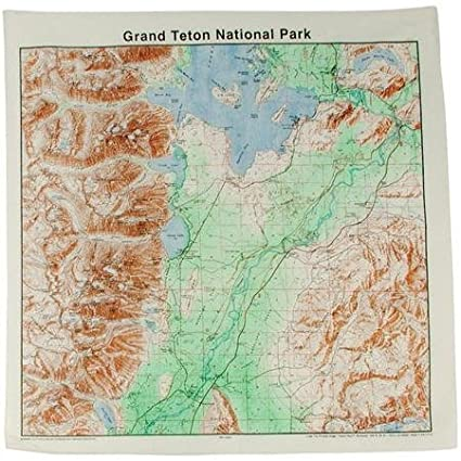 Amazon.com: Topographic Map Bandana Grand Tetons: Office Products