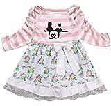 Kids Baby Girls Stripe Cartoon Cat Print Tutu Dress Lace Floral Princess Dresses Size 4-5Years/Tag120 (Pink)
