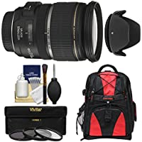 Canon EF-S 17-55mm f/2.8 IS USM Zoom Lens with Backpack + 3 Filters + Hood Kit for EOS 7D, 77D, 80D, Rebel T6, T6i, T6s, T7i, SL1, SL2 Camera