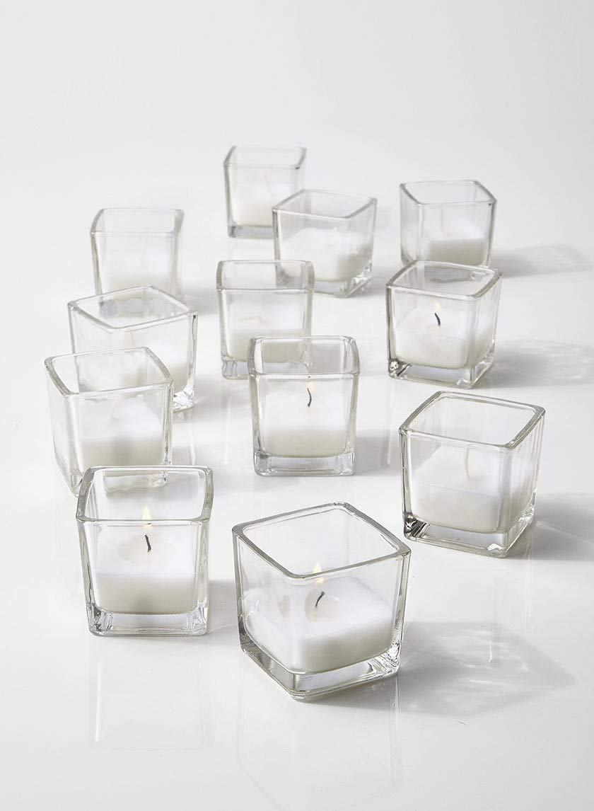 "Serene Spaces Living 10-Hour White Unscented Cube Votive Candles in Set of 12 – Classic Clear Glass Design in 2"" Cubes by Serene Spaces Living"