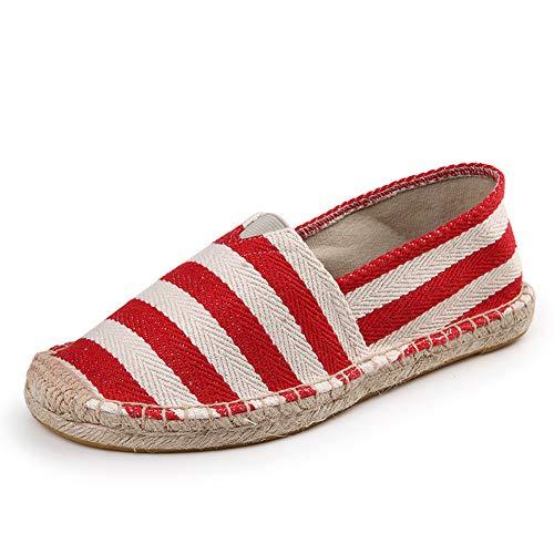 - Women's Men's Casual Espadrilles Loafers Breathable Flats Shoes Block Stripe Red Label Size 37-235mm - US 6.5 Women/5 Men