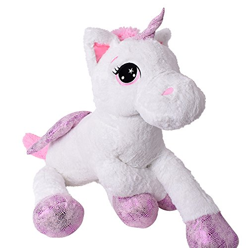TE-Trend XXL PELUCHE CABALLO UNICORNIO unicorn peluche tumbado 130cm Púrpura glitzerhorn Grandes Ojos Blanco: Amazon.es: Juguetes y juegos