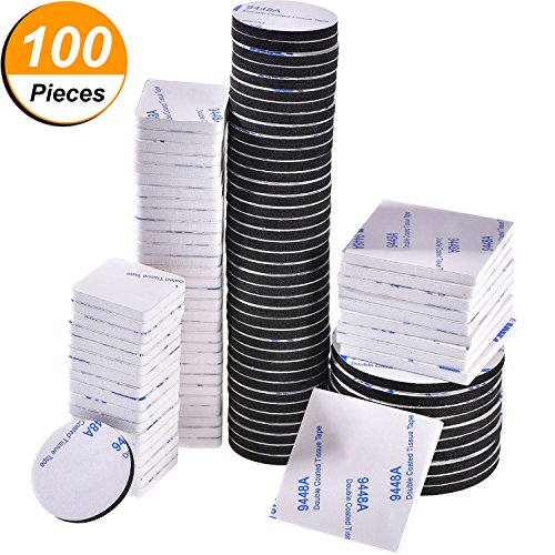 Bememo 100 Pieces Double Sided Adhesive Foam Pads Strong Adhesive Mounting Tape, Square and Round, Black and White