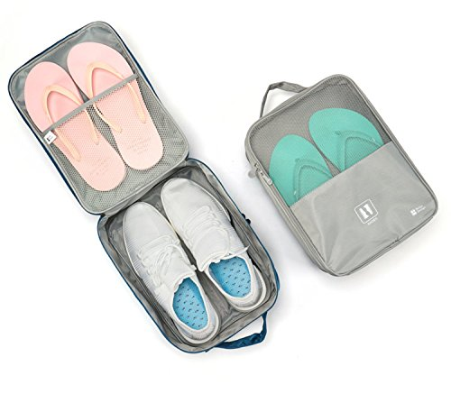 Travel Shoe Bag, MoreTeam 3 in 1 Shoe Storage Bag Holds 3 Pair of Shoes, Seperate Your Shoes From Clothes, Portable and Save Space for Men, Women, Gym, Easy And Quick Access To Your Shoes (Grey) by MoreTeam (Image #7)