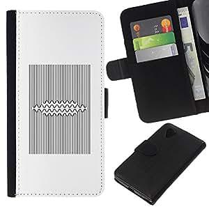 KingStore / Leather Etui en cuir / LG Nexus 5 D820 D821 / Líneas Patrón Negro Blanco vikingos