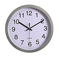 YUSOUND Non-ticking Quartz Home/Office Digital Decorative Plastic Wall Clock, 12Inch(Silver-gray)