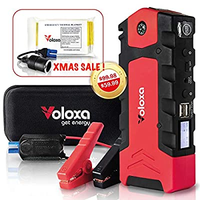 VOLOXA-NEW 2019- Super Safe Portable Car Jump Starter 15000 mAh 600A Peak Booster Battery Charger with Smart Charging Port- Special Bonus Emergency Thermal Blanket & Cigarette Lighter Adapter